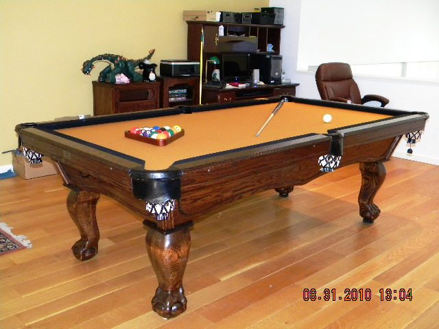 Solid Oak Delta Pool Table With Dark Finish