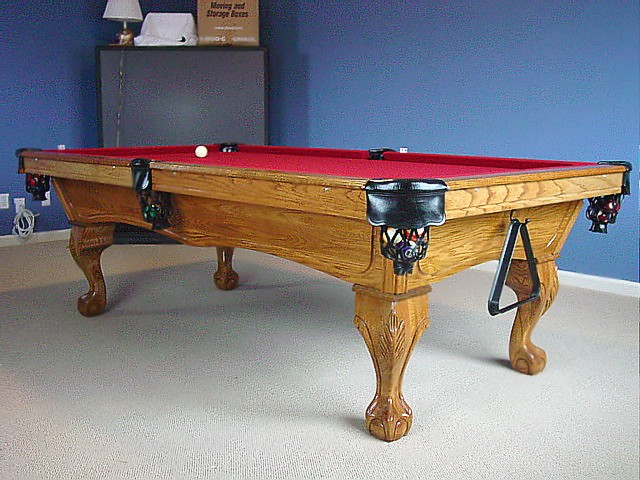 Solid Oak Delta Pool Table With Golden Finish