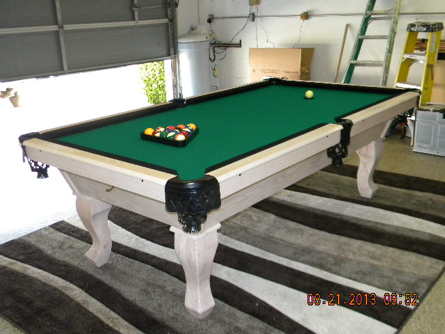 Stinger Pool Table With White Wash Finish.